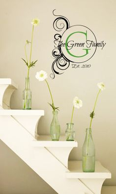 <p> This gorgeous monogram is elegant and timeless. It states your families established date along with your last name. Place this decal somewhere special in your home.</p> <p> Wall decals are precision cut adhesive vinyl words and designs that are applied to walls and other surfaces. Our decals are 100% removable, and look like they've been pro...