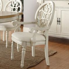 Rebecca Upholstered Arm Chair Set with Intricately Carved Seat Back