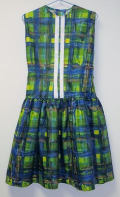 1970's Girl's Unworn Age 910 Green Abstract Drop by MislaidVintage, £10.00