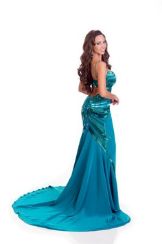 Chanel Beckenlehner Miss Canada in evening dress for Miss Universe.