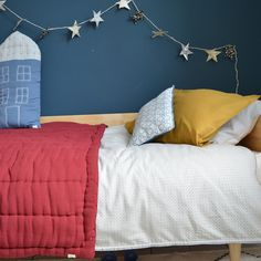 Crimson cot bed hand quilted blanket, mini polka dot grey duvet cover, colour pillowcases and tall indigo house cushion all by Camomile london Cot Bedding, Other Rooms, Kid Spaces, Cool Rooms, Beautiful Bedrooms, New Room, Girls Bedroom, Kids Room, Toddler Bed