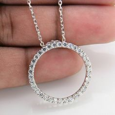 Ct Diamond Round Cut Solid White Gold Over Circle Pendant Necklace Infinity Pendant, Circle Pendant Necklace, Necklace Sizes, 14k Gold Chain, Swarovski Crystal Necklace, Selling Jewelry, Sterling Silver Pendants, White Gold, Diamond Necklaces