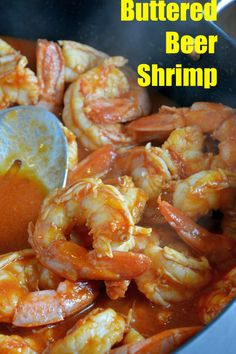Buttered Beer Shrimp Recipe- A quick dish of smoky shrimp in a butter, beer and tomato sauce served as an appetizer or over rice for dinner in just 10 minutes!