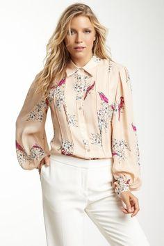 Rachel Roy Silk Long Sleeve Print Blouse by Non Specific on @HauteLook