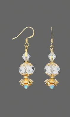 Earrings with Swarovski Crystal Beads and Gold-Plated Rose Beads - Fire Mountain Gems and Beads