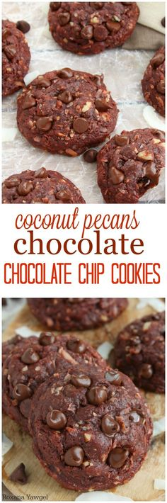 Thick, puffy and pillowy soft, fudgy and oozing with chocolate, these coconut pecans chocolate chocolate chip cookies will make you weak at the knees!