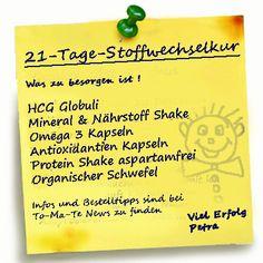 Welche Produkte benötigt man für die 21 Tage Stoffwechselkur mit Vitalstoffen