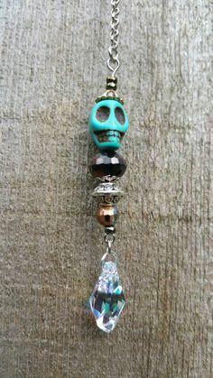 Steampunk Skull Beaded Suncatcher Prism Rearview by MommaGoesBoho Beaded Skull, Black Glass, Suncatchers, Car Accessories, Steampunk, Swarovski, Pendant Necklace, Drop Earrings, Chain