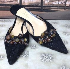 Auth-Cole-Haan-Black-Tweed-Bauble-Mules-Slides-Shoes-9-B