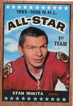 Topps # 124 Stan Mikita All-Star Team Chicago Blackhawks ExMt Blackhawks Hockey, Chicago Blackhawks, Hockey Cards, Baseball Cards, Frozen Four, Hockey Hall Of Fame, Sports Highlights, Sports Figures, Trading Card Database