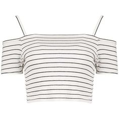 Boohoo Clara Stripe Rib Cold Shoulder Crop ($10) ❤ liked on Polyvore featuring tops, crop tops, shirts, ribbed crop top, open shoulder top, white tops, stripe top and stripe shirt
