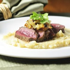 Balsamic vinegar adds a welcome tangy sweetness to the mild gaminess of tender venison backstrap