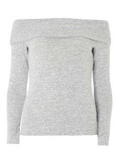 Grey marl cosy bardot top