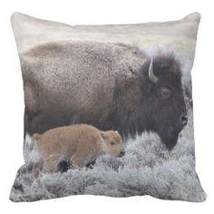 De Bizon van de koe en van het Kalf, Yellowstone 2 Sierkussen