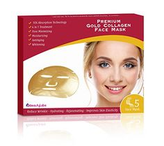24k Gold Collagen Skin Tightening Face Mask By iBeautyLabs - Anti Aging, Deeply Moisturizing, Rejuvenating, Whitening & Firming Effects- 10x Absorption Rate- Ideal For All Skin Types (Pack Of 5)