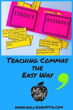 Teach students to use commas in dates and to separate single words in a series with this engaging hands-on resource. This bundle includes 5days of mini lessons, an anchor chart, task cards, FoldUpbooks, practice sheets, and a quick assessment. This is a complete hands-on mini unit that will add fun and excitement to your classroom. #HollieGriffithTeaching #Kids Activities #HandsOnLearning