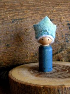 Birthday Prince, Small Wooden Peg Doll, hand dyed wool, jeweled crown, Waldorf Toy, Boy Birthday, blue, wood burned. $14.00, via Etsy.