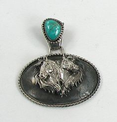 Navajo Sterling Silver and Turquoise Horse Mural Pendant