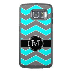 Cyan Blue Grey Black Chevron Monogrammed OtterBox Samsung Galaxy S6 Edge Case - girly gift gifts ideas cyo diy special unique
