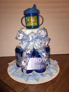 Beer diaper cake for man shower theme.