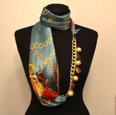 Купить 348 Зелено-оранжевое настроение - платок, платок-колье, подарок, подарок…