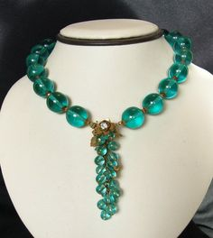 Miriam Haskell Necklace Aqua Blue Glass Waterfall Flower Bead Vintage Choker