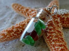 Seaglass Vial Pendant with Necklace by AngelinaWillowb on Etsy, $16.99