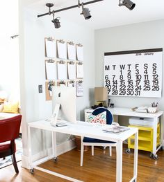 Create a Home Office that inspires creativity by pairing neutral soothing backgrounds w/ bold & happy accessories. Via @Michael Dussert Dussert Wurm, Jr. {inspiredbycharm.com} for MyColortopia.com.