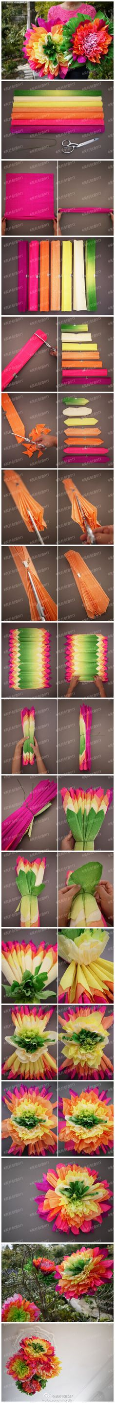 Super bright giant paper flowers to make. Best Picture For small Paper Flowers For Your Taste You are looking for something, and it is going to tell you exactly what you are looking for, and you Crepe Paper Flowers, Tissue Paper Flowers, Giant Paper Flowers, Diy Flowers, Bright Flowers, Flowers Decoration, Mexican Paper Flowers, Diy Paper, Paper Crafts