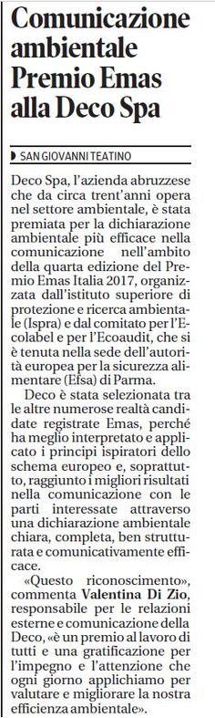 Ieri, 10.05.2017, eravamo  su Il Centro - Quotidiano d'Abruzzo Ecco l'articolo sul Premio #Emas Italia 2017.  Le belle notizie girano!  #Deco #SviluppoSostenibile #Dichiarazione #Ambientale