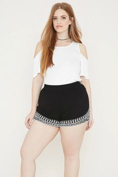 Plus Size Embroidered Shorts #f21plus