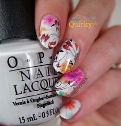 Cute flower nails using water decals from the Born Pretty Store. These are…