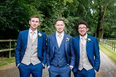 Blue Suits Groom Groomsmen Romantic Summer Country Blush Wedding http://katherineashdown.co.uk/