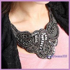 Gorgeous Handcrafted Black Ribbon Bib Necklace ...... marcasite design