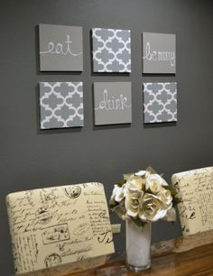 Eat Drink Be Merry Wall Art Pack of 6 Canvas Wall by GoldenPaisley