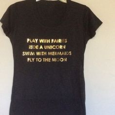 Small play with fairies ride unicorns tee black So cute just a little snug for me! Tops Tees - Short Sleeve