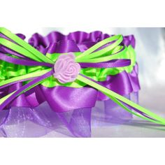 purple and lime green wedding   Purple and Lime Green Rose Garter