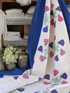 Cottage Morning Glories Applique Quilt, c1930-40s $295 www.Vintageblessings.com