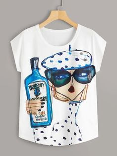 To find out about the Cartoon Print Cap Sleeve Tee at SHEIN, part of our latest T-Shirts ready to shop online today! Plus Size T Shirts, Plus Size Tops, Fashion News, Fashion Outfits, Women's Fashion, Latest T Shirt, White Fabrics, Types Of Sleeves, Sleeve Styles