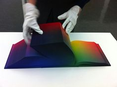 The RGB Colorspace Atlas by New York-based artist Tauba Auerbach is a massive tome containing digital offset prints of every variation of RGB color possible. For you designers, think of it as a three-dimensional version of a Photoshop color picker. Web Design, Book Design, Graphic Design, Photoshop, Book Art, Impression Offset, Tauba Auerbach, Rgb Color Space, Palette