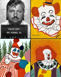 Disturbing art from the mind of American serial killer & rapist John Wayne Gacy, Jr. who sexually assaulted and murdered at least 33 teenage boys and young men between 1972 and 1978. he also dressed up as a clown!