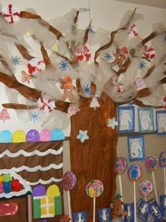 Winter tree, Candyland, Peppermints, snowflakes, snow, hallway display