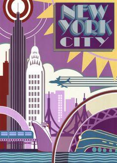 Vintage travel poster - USA - New York