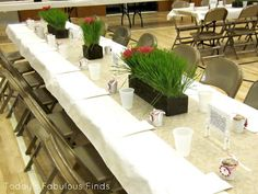 Table Decor on a Dime: Relief Society Dinner + (other things on her blog) cute idea + LOTS of cute home decore ideas