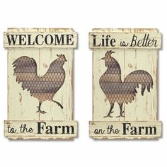 2 Piece Rooster Cut-Out Wall Dcor Set Metal Flower Wall Decor, Rustic Wall Decor, Wall Plaques, Wall Signs, Kitchen Metal Wall, Wood Pallet Signs, Pallet Art, Wooden Signs, Medallion Wall Decor