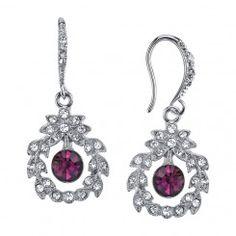 Downton Abbey® Boxed Silver-Tone Purple Crystal Wire Drop Earrings