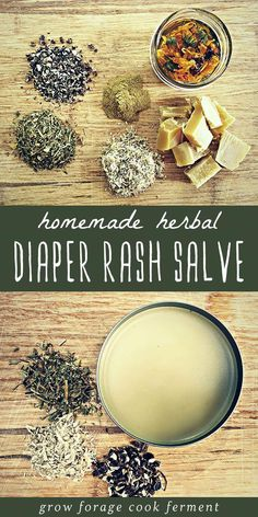 A recipe for a homemade, DIY herbal diaper rash salve that works! Skip the chemicals and additives and make this easy diaper rash salve using infused oil, beeswax, and natural herbs. You'll feel great about using this all natural alternative for baby. Natural Herbs, Natural Healing, Natural Oil, Natural Foods, Natural Baby, Natural Home Remedies, Herbal Remedies, Health Remedies, Natural Medicine