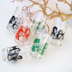 Vintage Swanky Swigs 50s Juice Glasses Farm Animals by WhimzyThyme #hipster #juicing #mod #midcentury #jelly #jars #collectibles