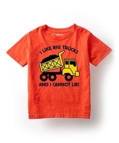 Another great find on #zulily! Orange 'I Like Big Trucks' Tee - Toddler & Kids #zulilyfinds