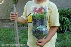 DIY worm tower kids can make - with a bit of adult supervision of course! What a fun way to talk about the important role earthworms play in keeping our soil healthy.    Gift of Curiosity